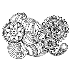 Hand drawn floral zentangle on white background vector image