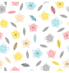 hand drawn seamless pattern with flowers and vector image