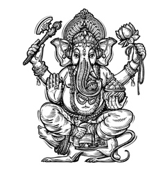Hand drawn sketch ganesh vector