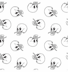 hand drawn vintage tattoo skull seamless pattern vector image