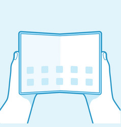 hand holding foldable screen smart phone outline vector image