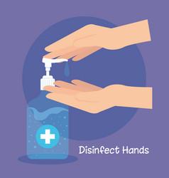 Hand sanitizer pump bottle washing gel self vector