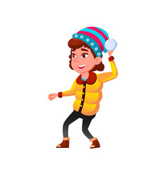 Happiness caucasian girl playing snowballs vector