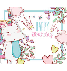 Happy birthday with cute unicorn decoration vector