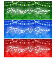 happy new year neon banners set vector image