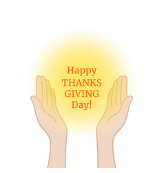 Happy thanksgiving day with prayer hands vector
