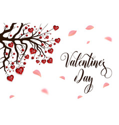 happy valentines day tree decorated with red vector image