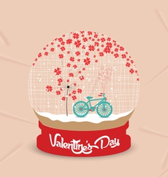 Happy valentines day with romantic dandelion heart vector