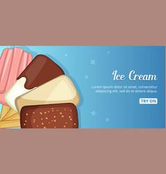 Ice cream cold banner horizontal cartoon style vector