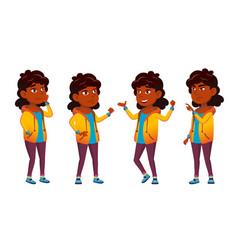 Indian girl school kid set primary school vector