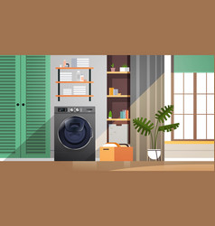 interior laundry room with washing machine vector image