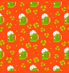 irish st patrick green ale orange seamless vector image