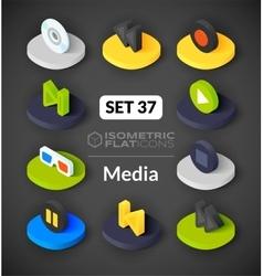 Isometric flat icons set 37 vector