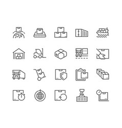 Line package delivery icons vector