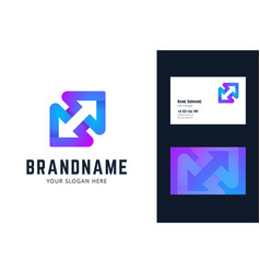 logo and business card template with two arrows vector image