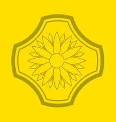 logo of flower on yellow background flower emblem vector image
