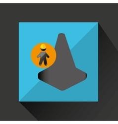 Man silhouette helmet and cone design graphic vector