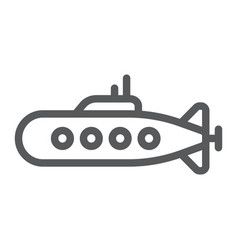 Military submarine line icon marine and military vector