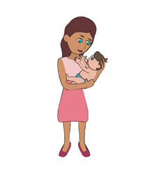 mom holding baby cartoon vector image vector image