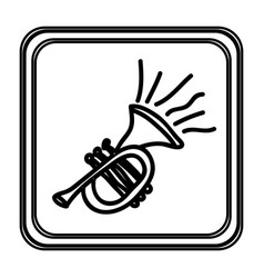 Monochrome contour with trumpet hand drawn vector