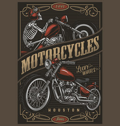 Motorcycle colorful poster vector