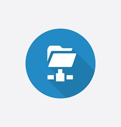 net folder Flat Blue Simple Icon with long shadow vector image