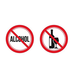 no alcohol sign red prohibition signs image vector image