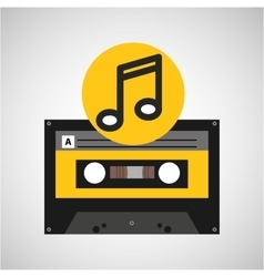 note music cassette tape vector image