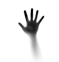 Open hand in mist designer vector