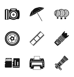 Photography icons set simple style vector
