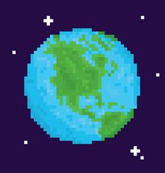 Pixel art retro arcade game planet earth vector