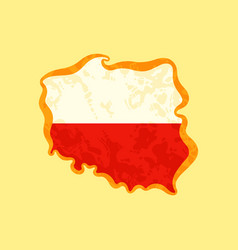 Poland - map colored with polish flag vector