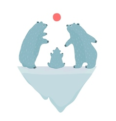 Polar Bears Watching the Sunset vector image