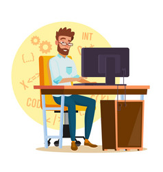 Programmer man stylized young developer vector