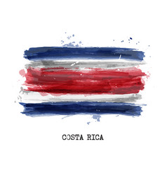Realistic watercolor painting flag costa rica vector