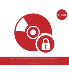 Red cd or dvd disk with closed padlock icon vector
