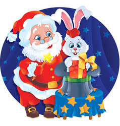 santa claus the magician and white rabbit in a hat vector image