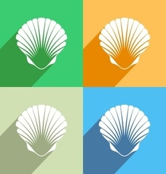 Scallop seashell icon vector