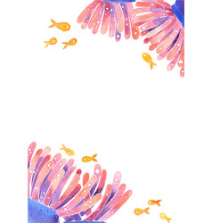 Sea anemone with fish in sea frame watercolor vector
