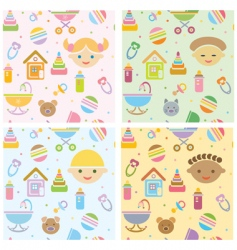 seamless fun baby patt vector image
