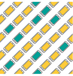 seamless pattern with colored smart phones vector image