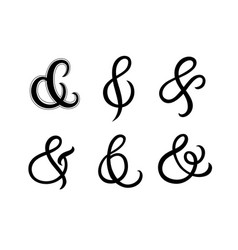 Set hand written ampersands vector