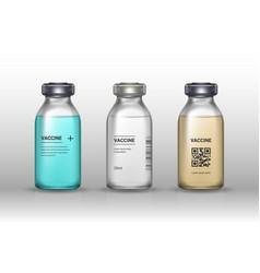 set medical vaccine bottles on gray background vector image