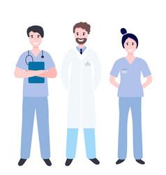 set medical workers - doctor nurse surgeon vector image