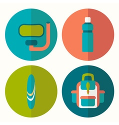 Set of flat summer icons with half shadow vector