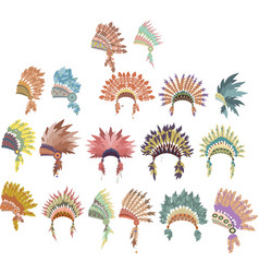 set ofhand drawn native american indian headdress vector image