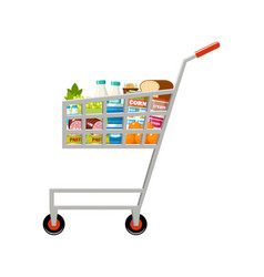 shopping cart with products supermarket vector image
