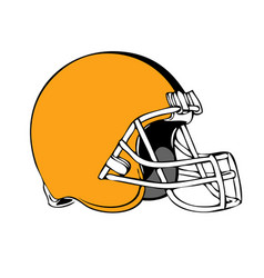 simple american football helmet on white vector image