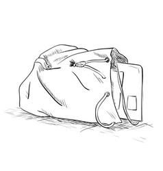 sketch bag with a tablet inside vector image