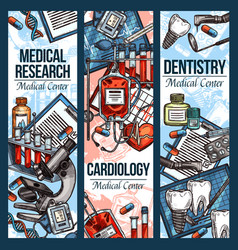 Sketch banners for dentistry and cardiology vector